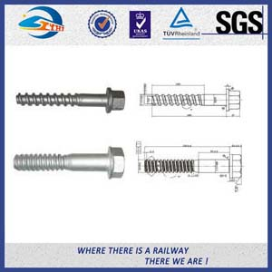 UIC Standard Black Q235 Railroad Screw Spike For Fastening Rails